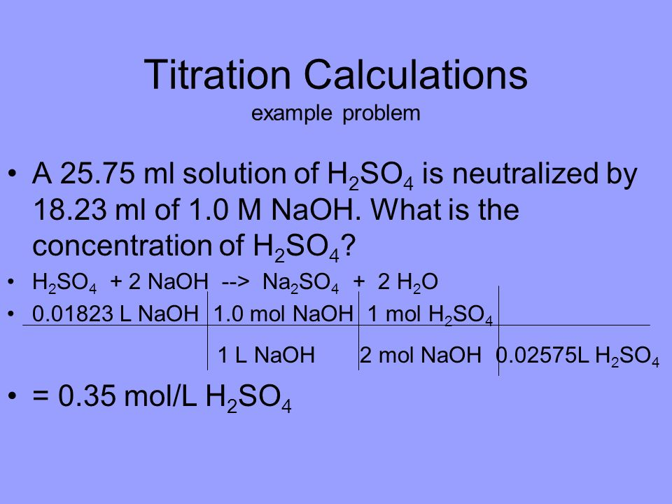 Titration Calculations example problem