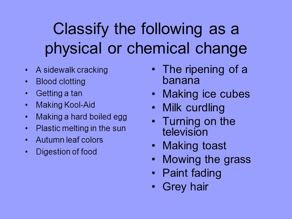 Classify the following as a physical or chemical change