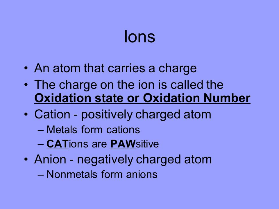 Ions An atom that carries a charge