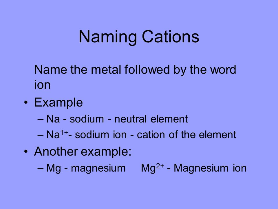 Naming Cations Name the metal followed by the word ion Example