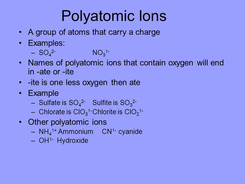 Polyatomic Ions A group of atoms that carry a charge Examples: