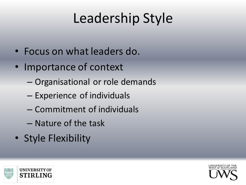 the importance of consistency in a leadership style Home » leadership skills » your most important leadership skill: listening your most important leadership skill:  ‹ is your management style part of the problem.
