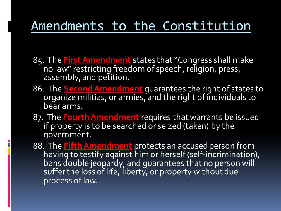the list of amendments on the united states constitution To understand the united states of america, start with the constitution written over 200 years ago, when the nation was first being established out of the 13 british colonies, this document is a blueprint.