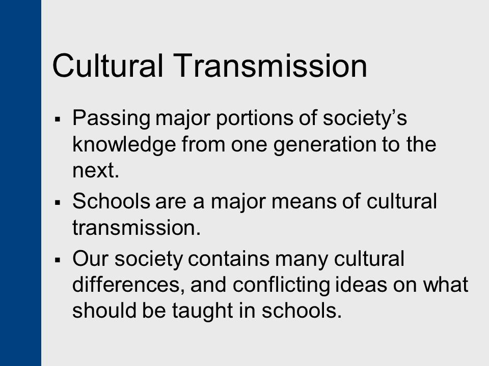 cultural transmission theory The inter-generational and social transmission of cultural traits: theory and evidence from smoking behavior rebekka christopoulou, ahmed jaber, dean r lillard nber.