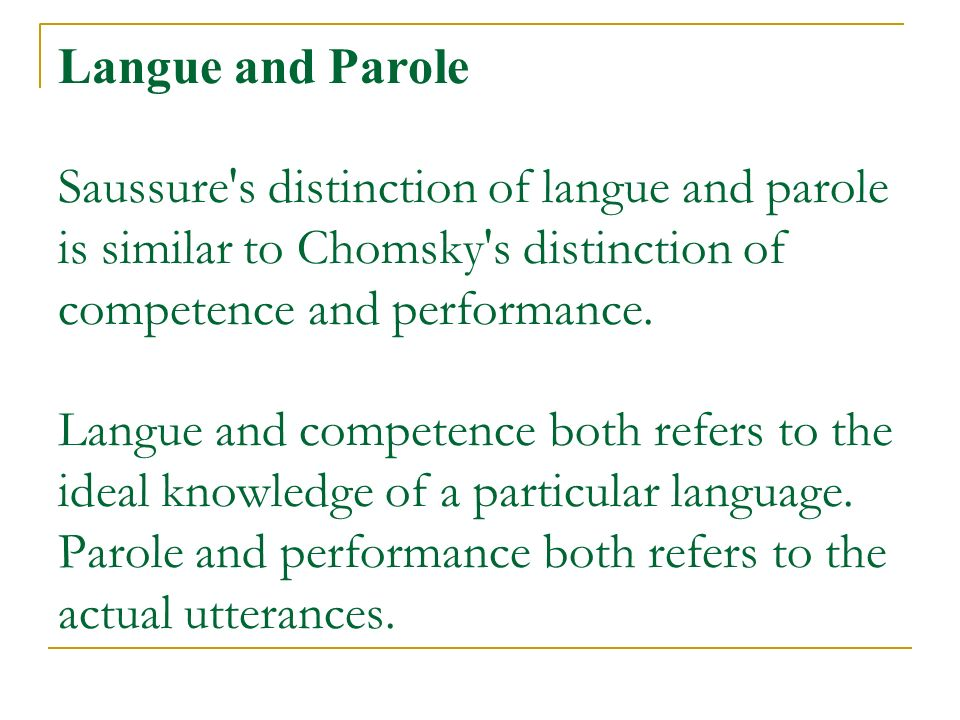 differences between langue and parole pdf