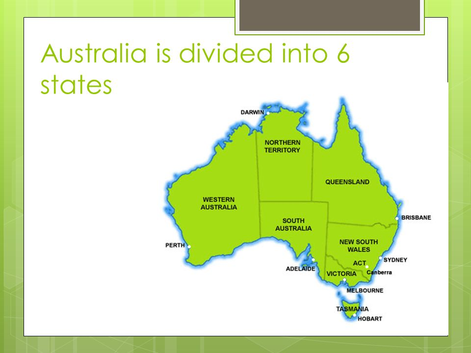 Australia is divided into 6 states