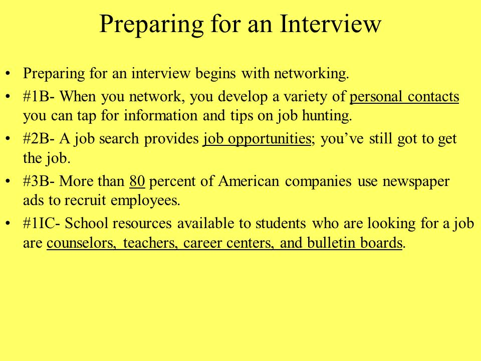 preparing for a job interview pdf