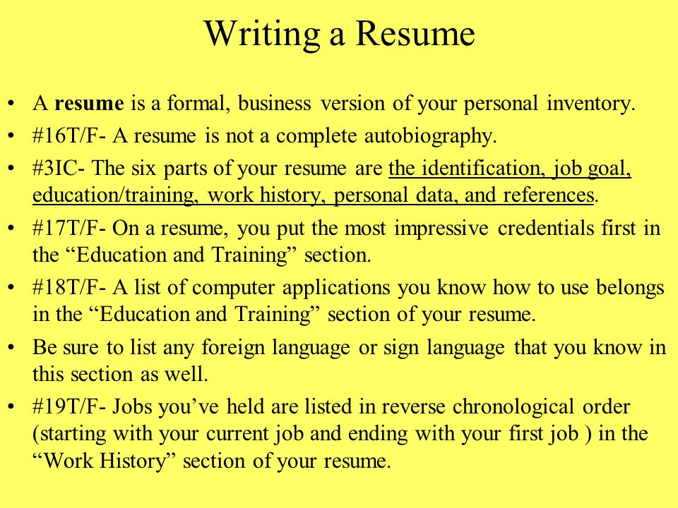 chapter 8 interviewing for a job and writing a resume