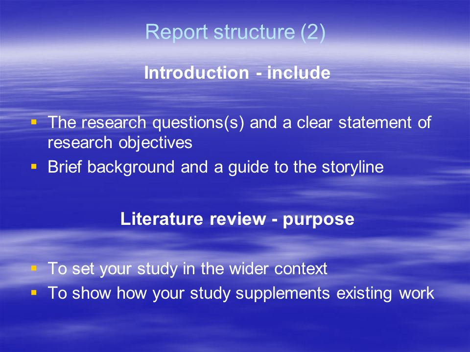 Purpose of literature review in research study