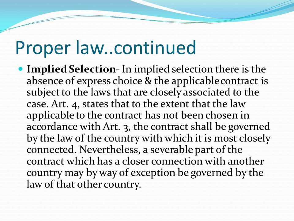 Proper law..continued