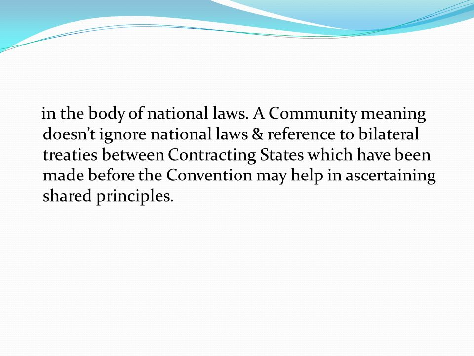 in the body of national laws