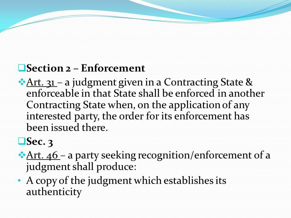 Section 2 – Enforcement