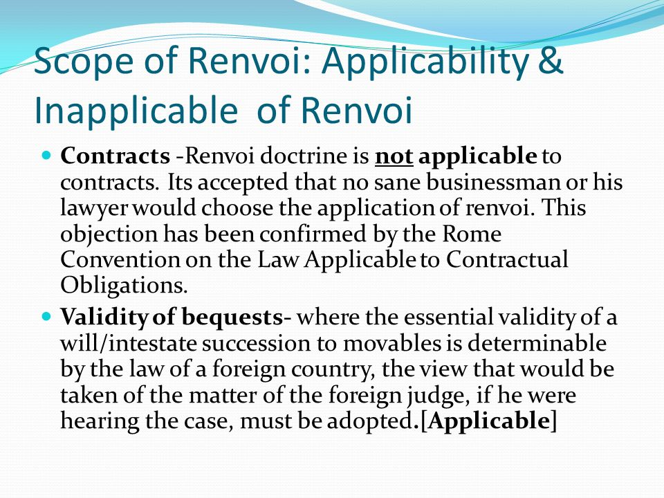 Scope of Renvoi: Applicability & Inapplicable of Renvoi