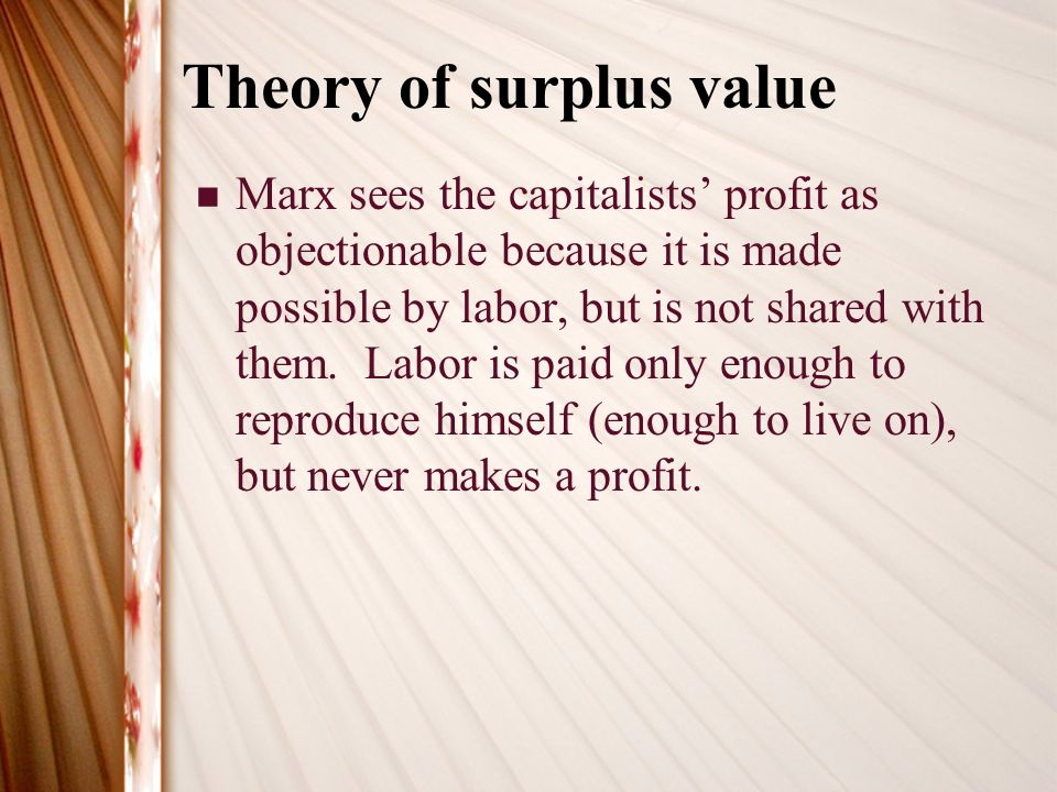 theory of surplus value pdf