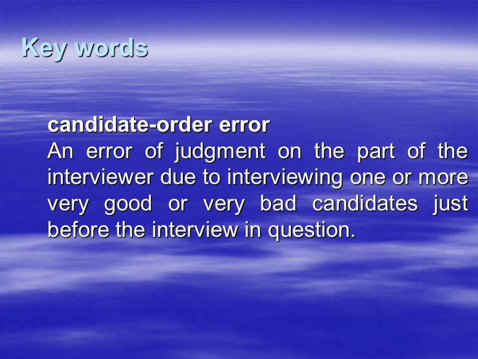 Key words candidate-order error