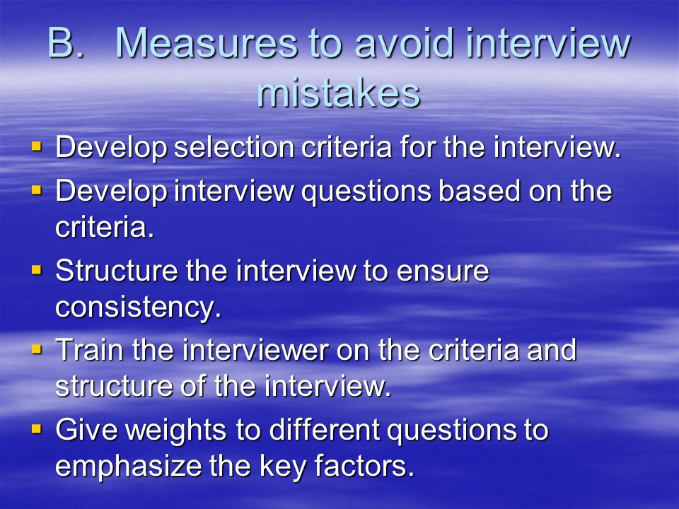 B. Measures to avoid interview mistakes