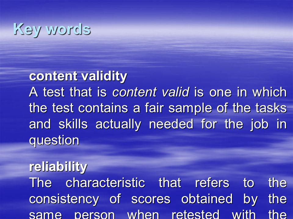 Key words content validity