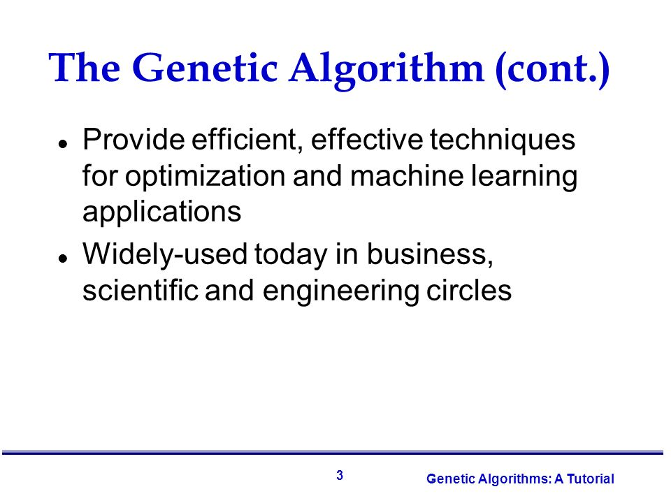 Genetic algorithm and its application in
