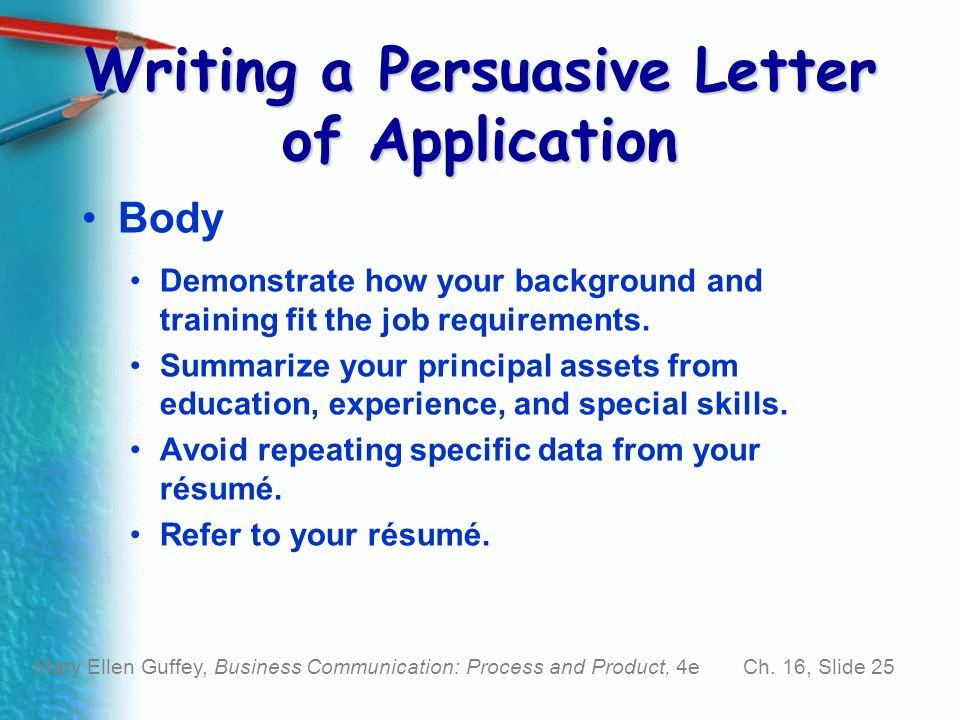 persuasive job application letter Review a sample letter to send with a job application, plus more examples of  letters of application for jobs, and what to include in your letter or.