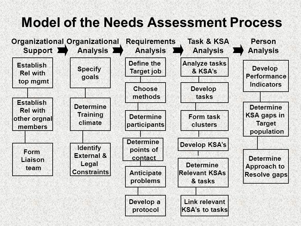 Needs Assessment Model Of The Needs Assessment Process Needs