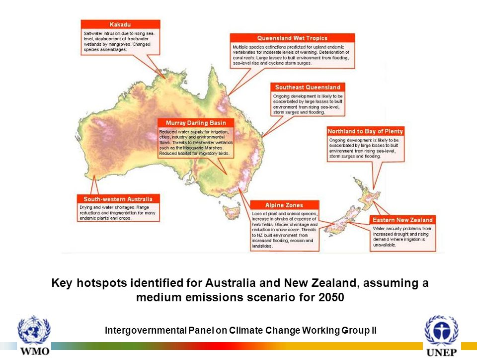 Key hotspots identified for Australia and New Zealand, assuming a medium emissions scenario for 2050