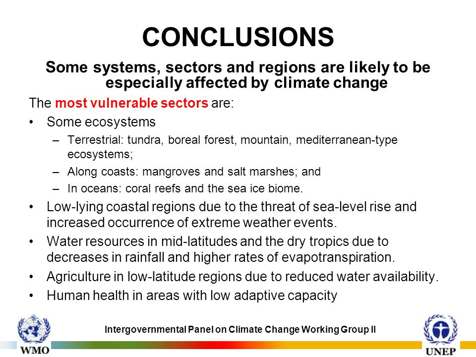 CONCLUSIONS Some systems, sectors and regions are likely to be especially affected by climate change.