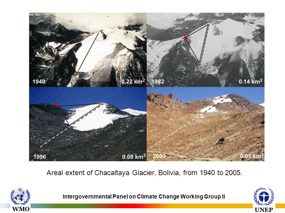 Areal extent of Chacaltaya Glacier, Bolivia, from 1940 to 2005.