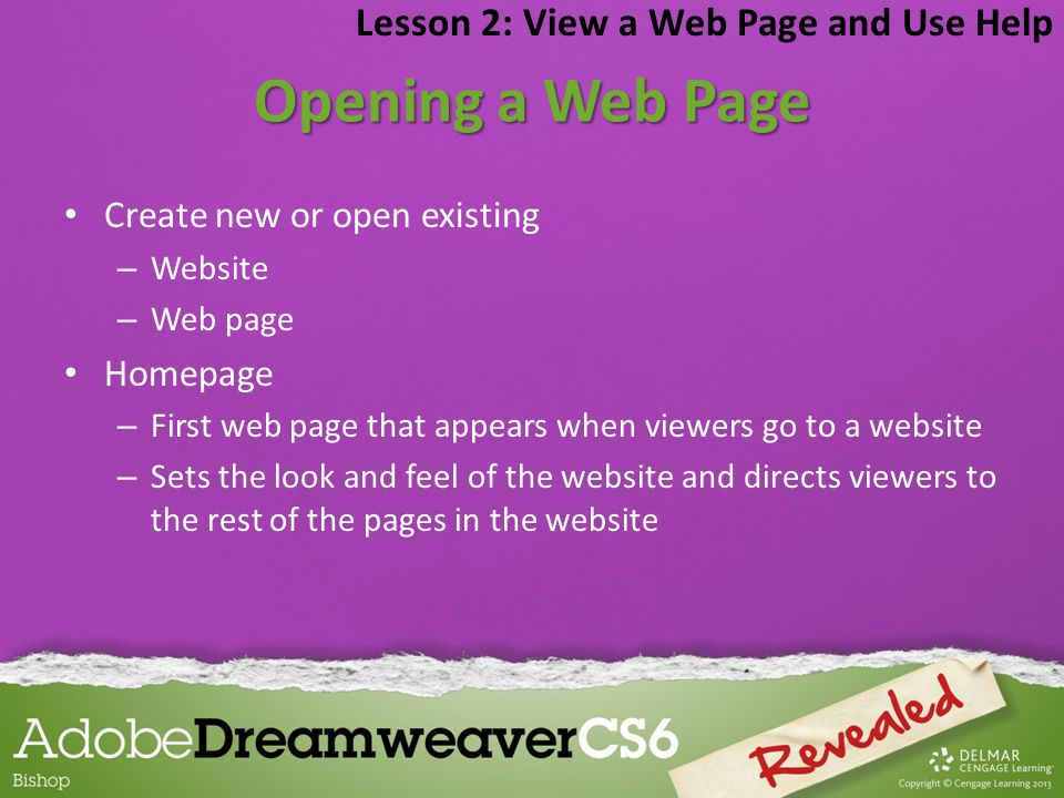 Opening a Web Page Lesson 2: View a Web Page and Use Help
