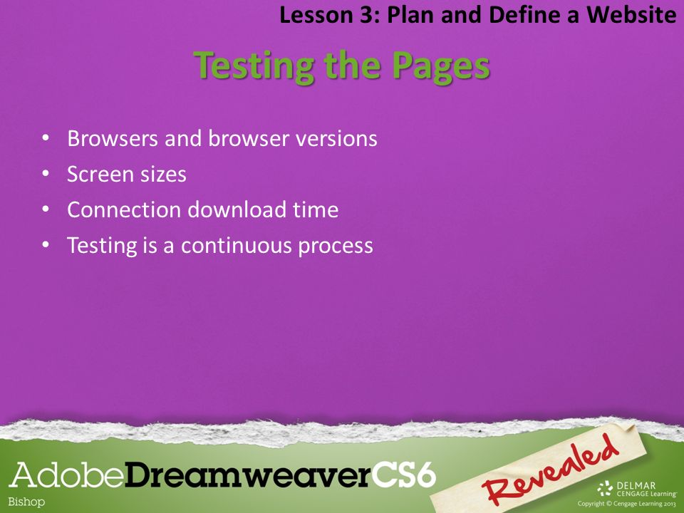 Testing the Pages Lesson 3: Plan and Define a Website