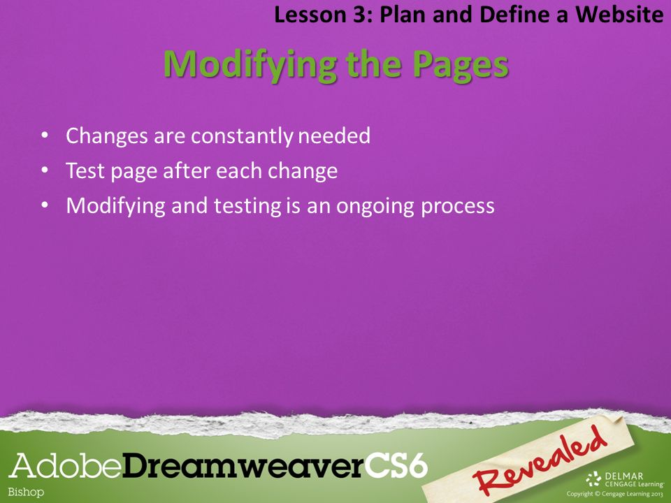 Modifying the Pages Lesson 3: Plan and Define a Website