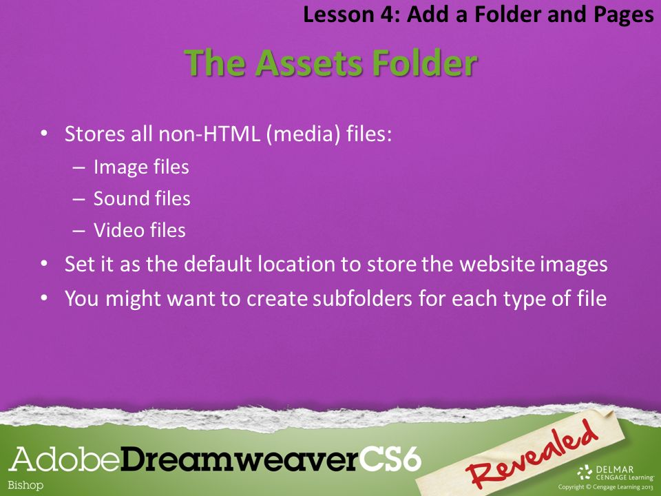 The Assets Folder Lesson 4: Add a Folder and Pages