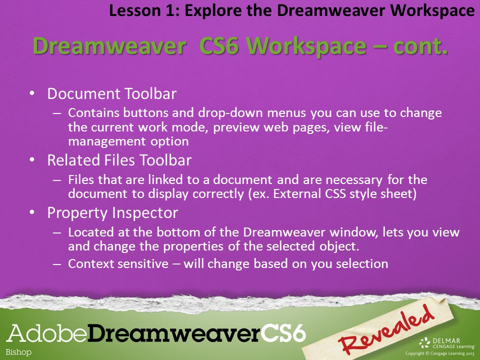 Dreamweaver CS6 Workspace – cont.