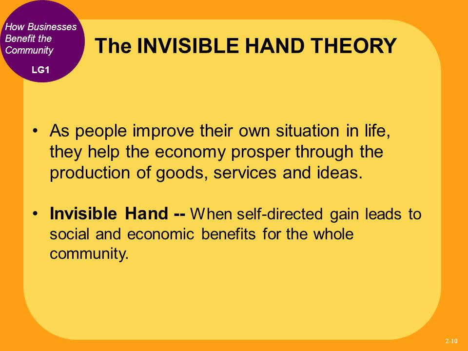 the invisible hand theory The invisible hand is a term used by adam smith to describe the unintended social benefits of an individual's self-interested actions [citation needed] the phrase was employed by smith with respect to income distribution (1759) and production (1776.