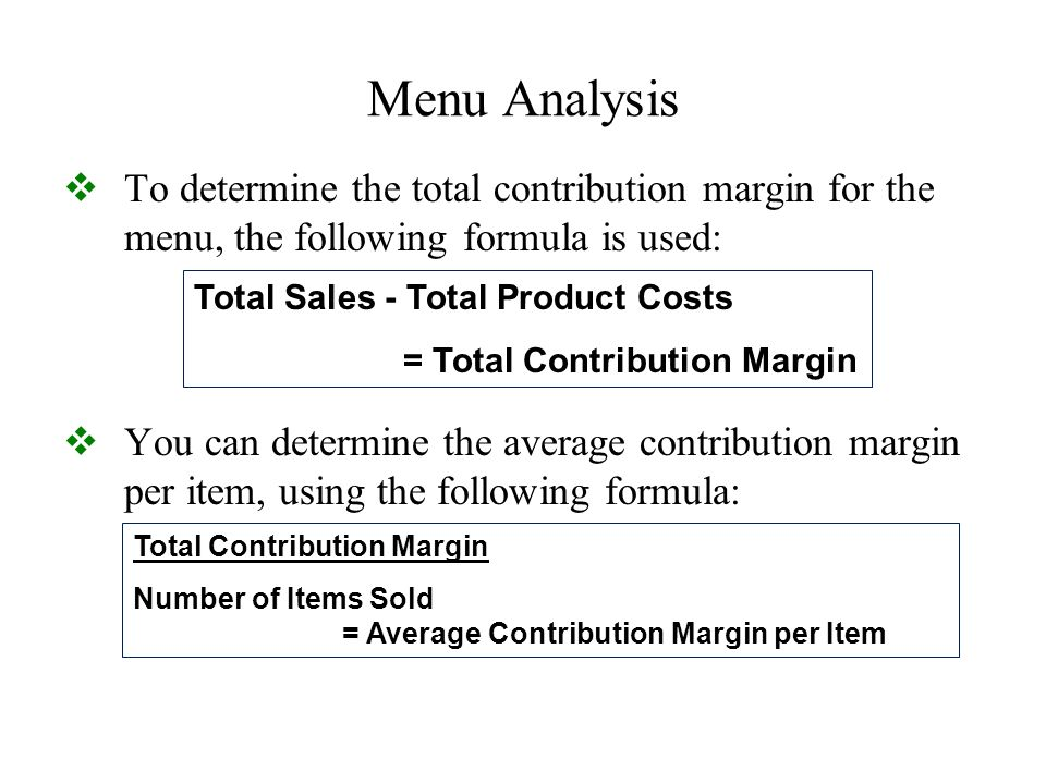 menu analysis