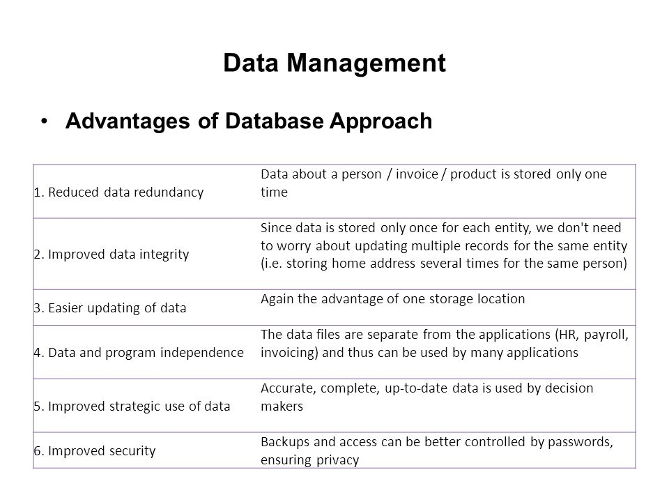 benefits of a database information Database management systems serve many roles that provide the dbms users with advantages over file systems and other systems that support data management.