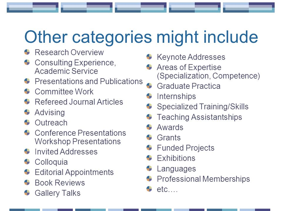 Other categories might include