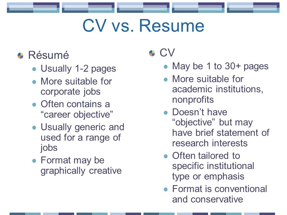 CV vs. Resume CV Résumé May be 1 to 30+ pages Usually 1-2 pages