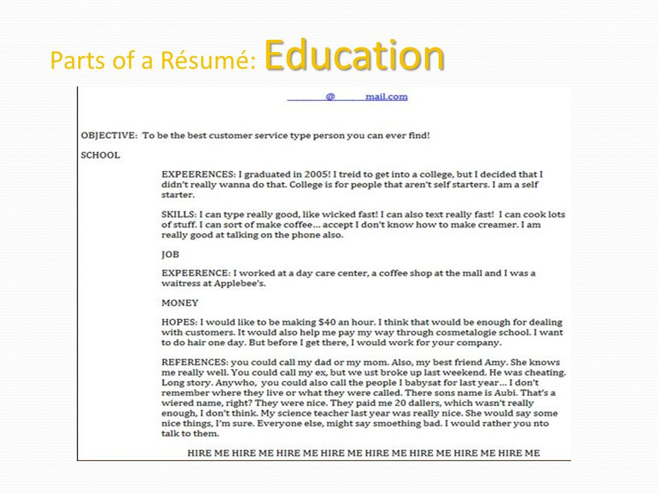 11 Parts Of A Résumé: Education  One Day Resume