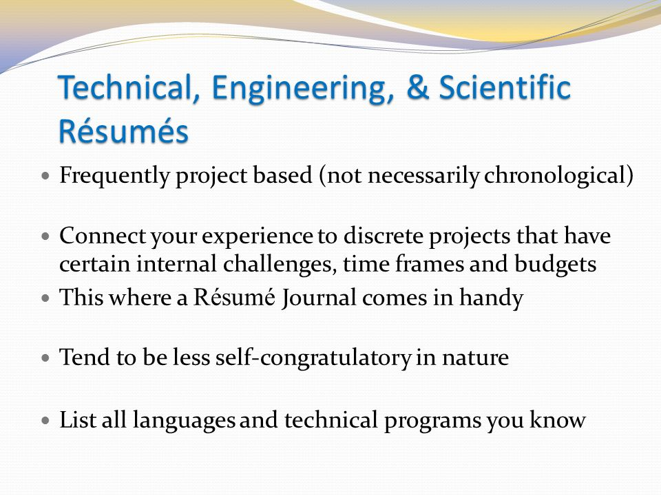 project based resumes