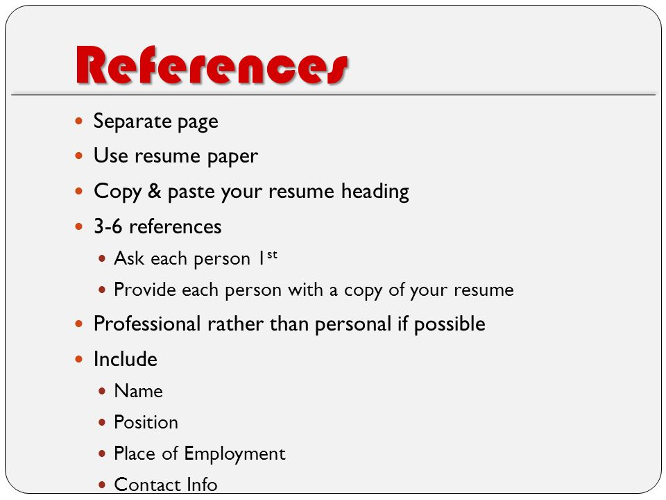 reference person in resume