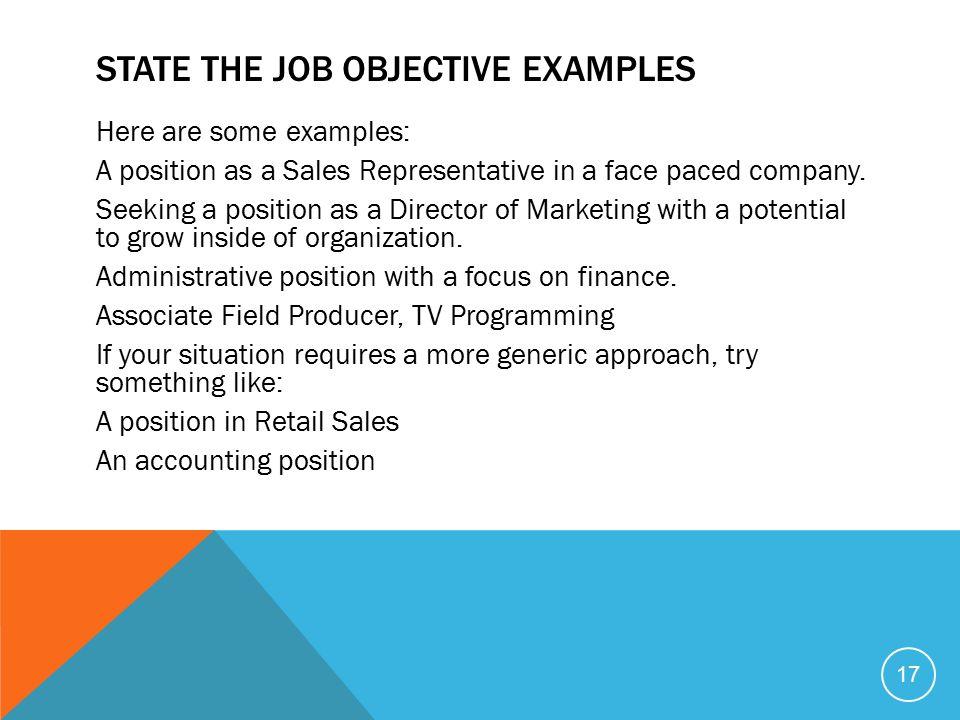 sales representative job objective