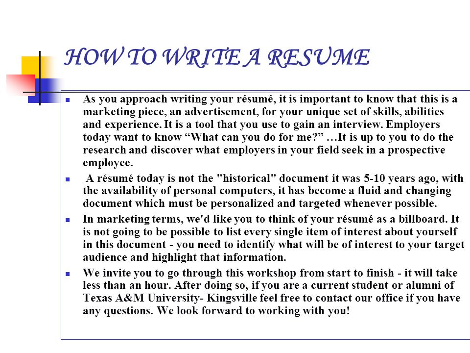 how to resume writing Learn how to write a resume that impresses hiring managers and speaks to your personal and professional strengths this resume writing course deals with the nuts and bolts of resume formatting, layout, and word choice.