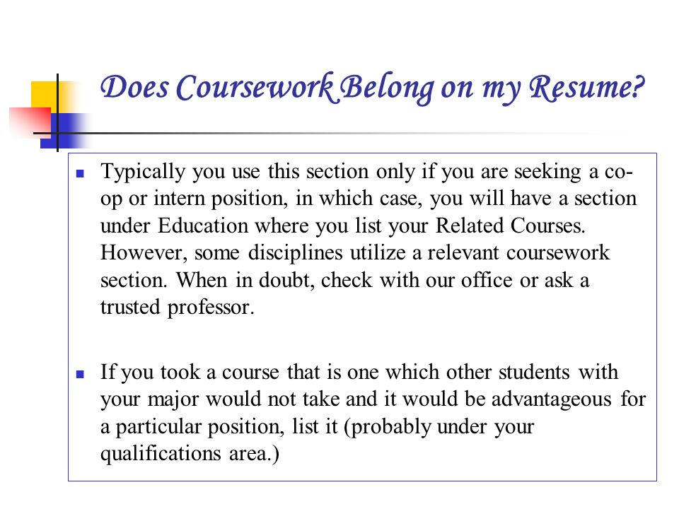 should i include relevant coursework in a resume