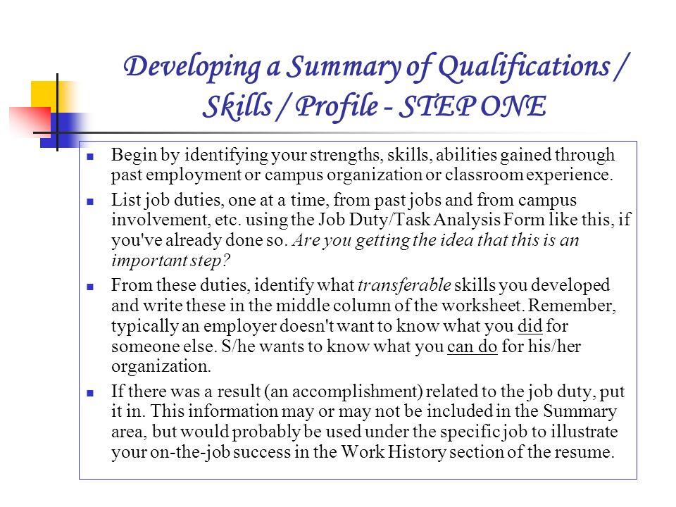 list of job descriptions for resumes