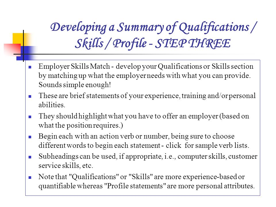 skills to offer an employer