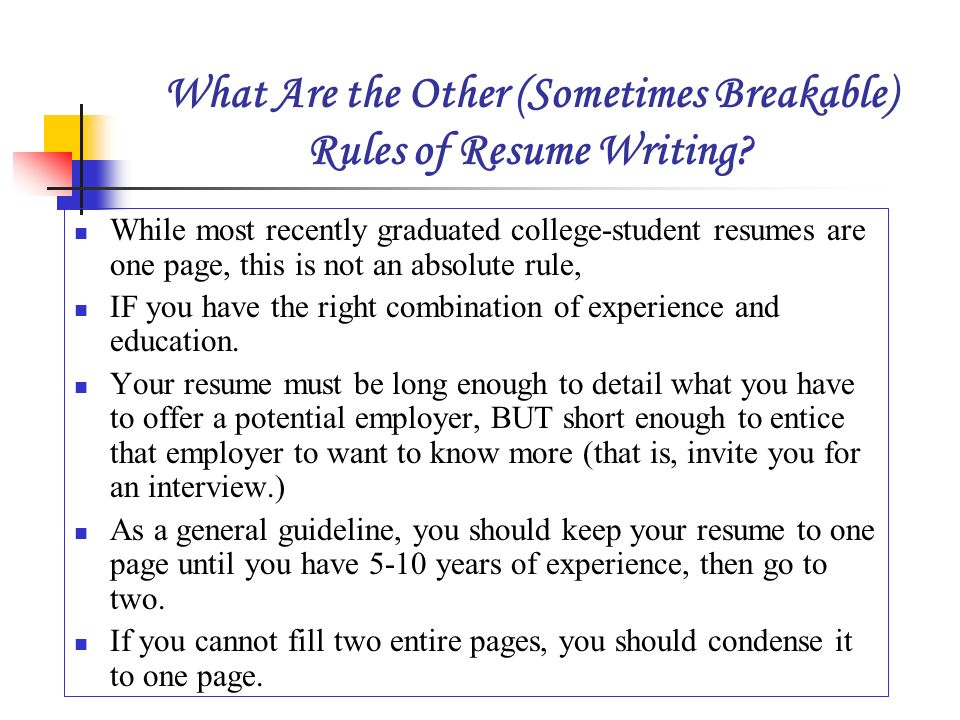 Superior What Are The Other (Sometimes Breakable) Rules Of Resume Writing
