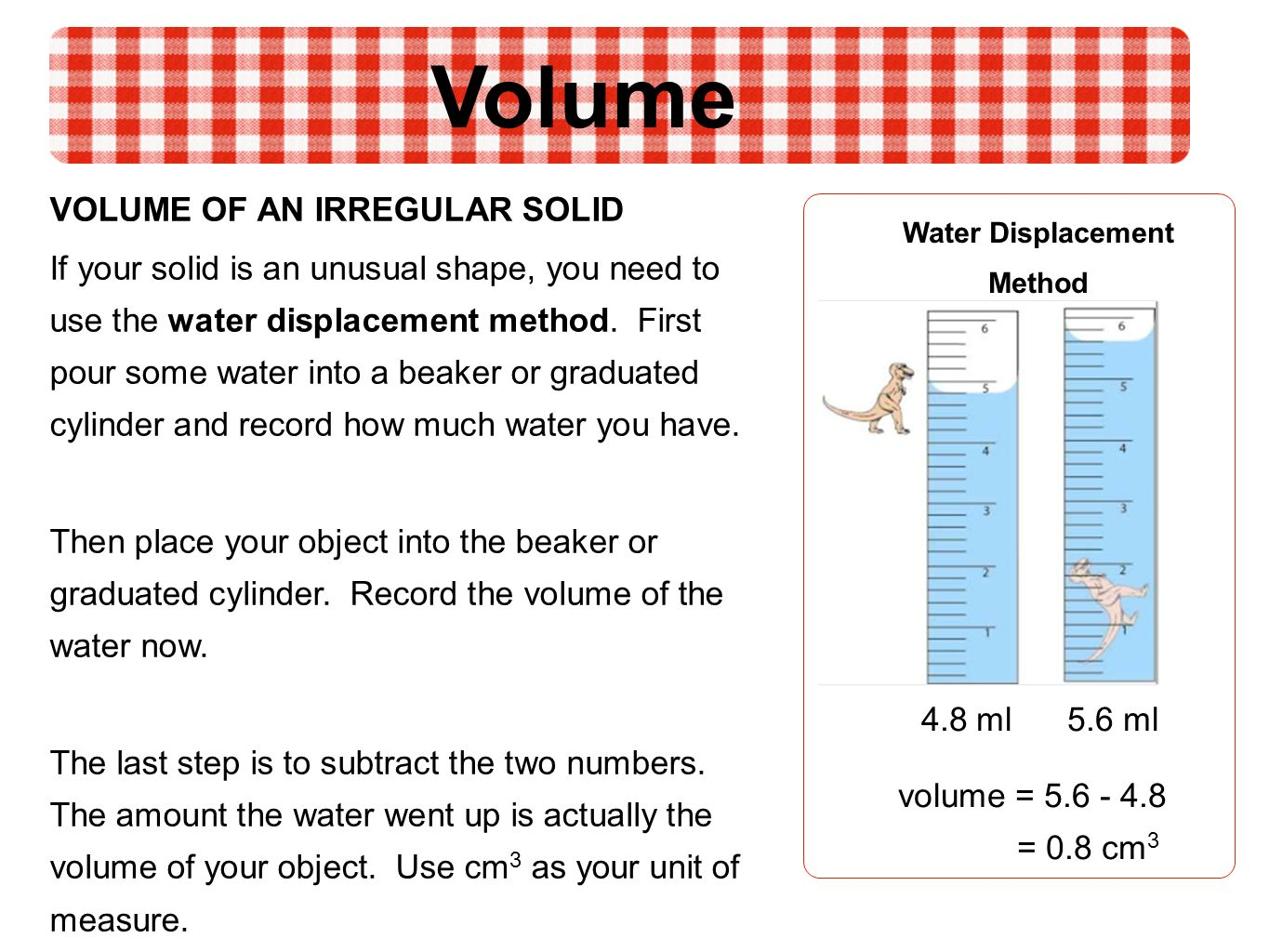 worksheet Water Displacement Worksheet mass and volume ppt video online download 10 of an irregular solid water displacement