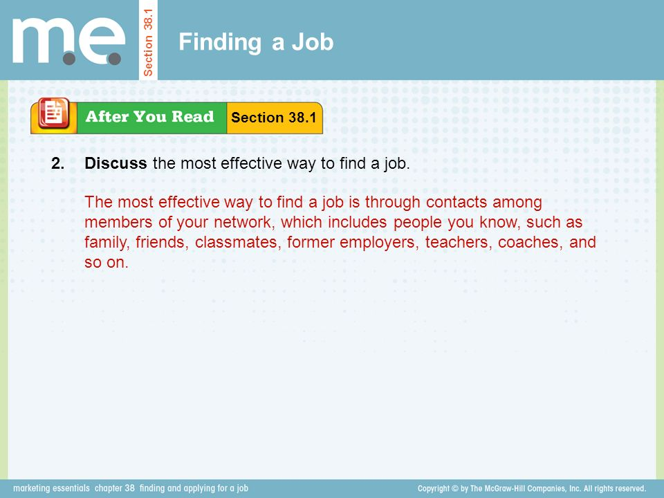 Finding a Job 2. Discuss the most effective way to find a job.