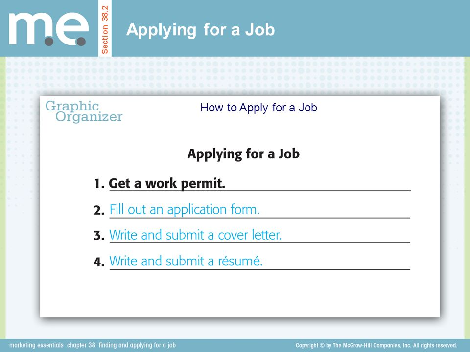 Applying for a Job Section 38.2 How to Apply for a Job