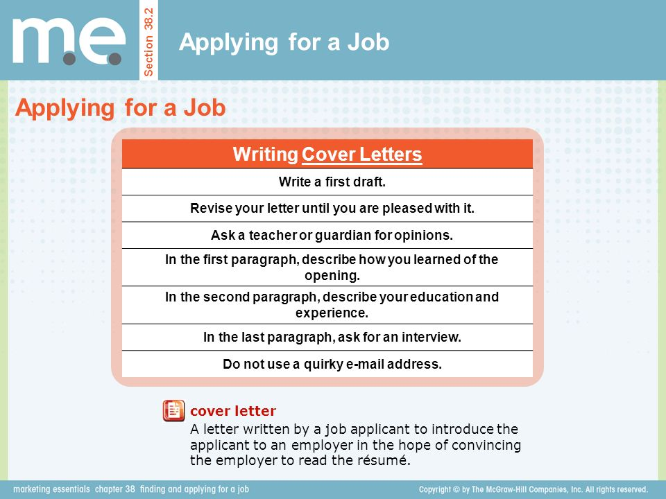 Applying for a Job Applying for a Job Writing Cover Letters